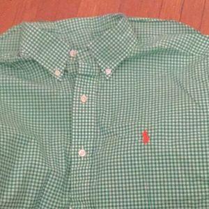 Ralph Lauren green white cotton long sleeves M